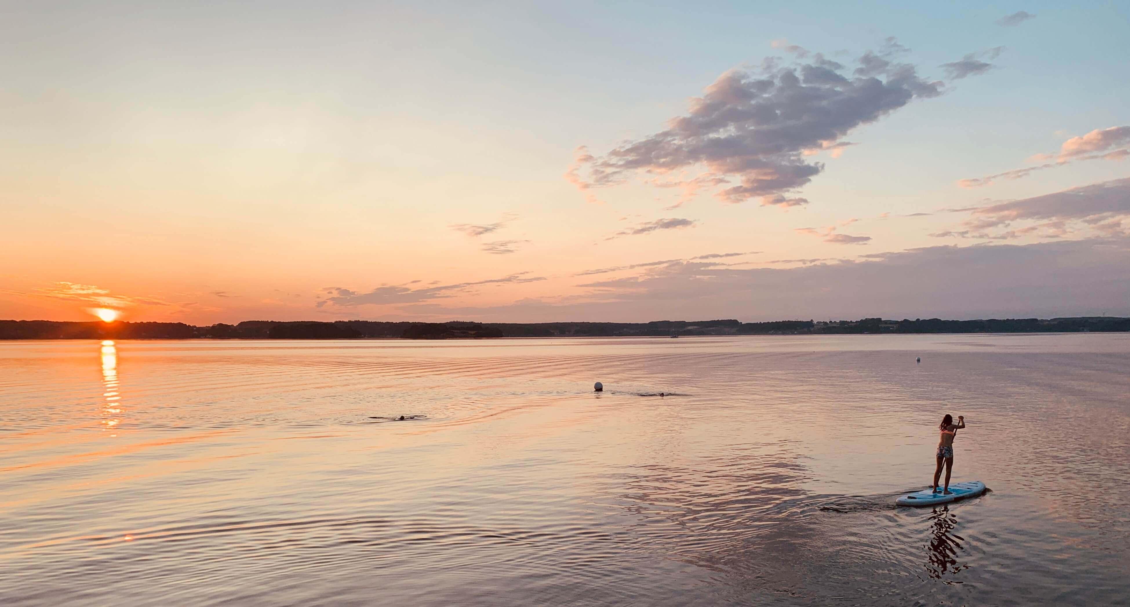 Glücksburg, Meer, SUP, Sonnenuntergang